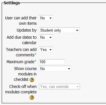 Checklist Activity Settings