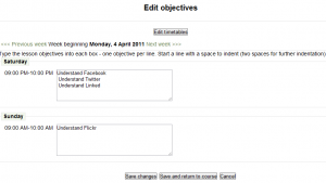 Edit Lesson Objectives