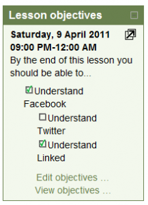 Normal Block View of Lesson Objectives