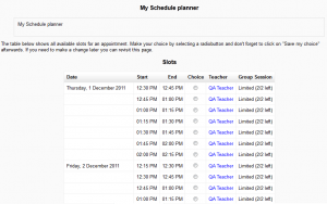 Scheduler Student View