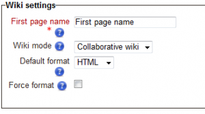 Default Moodle Wiki Settings