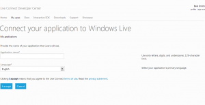 Step one for creating the Application on Windows Live