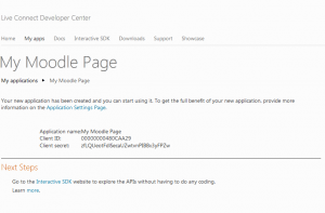 Step 2 for creating the Application on Windows Live