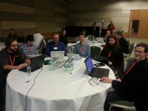 @CityMoodle: #mootie13 hackfest about to begin with @basbrands @mudrd8mz @davosmith @tim_hunt and others 