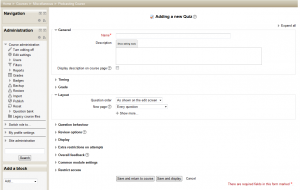 Adding a quiz in Moodle 2.5