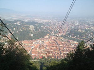 View down the cablecar route from Tampa Mountain in Brasov